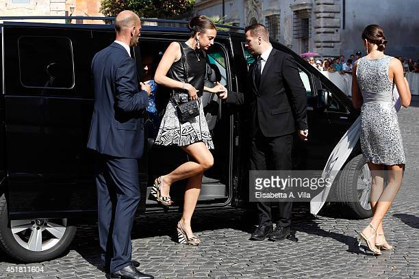 Comtesse Olympia von und zu ArcoZinneberg arrives at the wedding of Prince Amedeo of Belgium and Elisabetta Maria Rosboch Von Wolkenstein at Basilica...