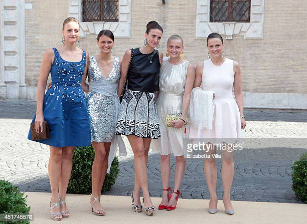 Comtesse Olympia von und zu ArcoZinneberg attends with her sisters Anna Therese Maximiliana Marie Gabrielle and Giorgiana the wedding of Prince...