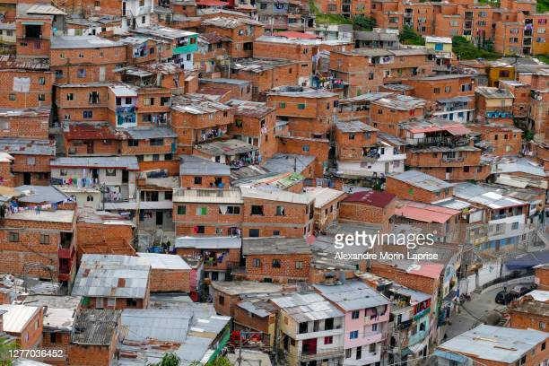 comuna 13, touristic artistic urban attraction cultural historical neighborhood - drug cartel stock pictures, royalty-free photos & images
