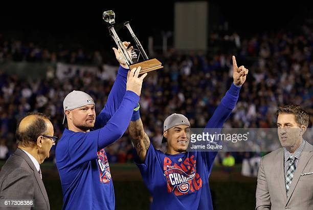 CoMVPs Jon Lester and Javier Baez of the Chicago Cubs pose after defeating the Los Angeles Dodgers 50 in game six of the National League Championship...