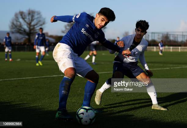 Con Ouzounidis of Everton battles for possession with Dilan Markanday of Tottenham during the Premier League 2 between Tottenham Hotspur and Everton...