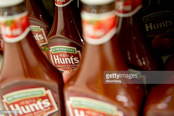 ConAgra Foods Inc Hunts brand ketchup sits on display at a supermarket in Princeton Illinois US on Tuesday Sept 17 2013 ConAgra Foods Inc is...
