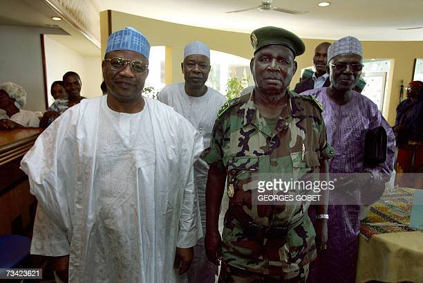 Nigeria's former military ruler Ibrahim Babangida mediator for the Economic Community of the West African States in the Guinean crisis poses with...