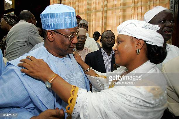 Rabiatou Serah Diallo secretary general of the National Workers Confederation of Guinea talks with Former Nigerian and leader of the mediation team...