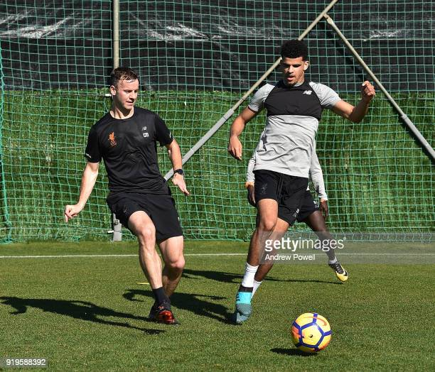 Conall Murtagh Firstteam fitness coach of Liverpool and Dominic Solanke of Liverpool during a training session at Marbella Football Center on...