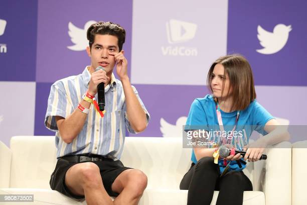 Conan Gray and Emma Blackery speak onstage during the 'Music Makers' panel at the 9th Annual VidCon at Anaheim Convention Center on June 20 2018 in...