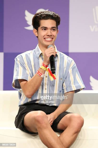 Conan Gray speaks onstage during the 'Music Makers' panel at the 9th Annual VidCon at Anaheim Convention Center on June 20 2018 in Anaheim California