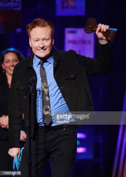Conan O'Brien accepts the Best Comedy Podcast award for 'Conan O'Brien Needs A Friend' onstage at the 2020 iHeartRadio Podcast Awards at the...