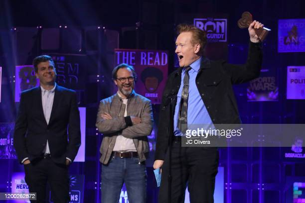 Conan O'Brien accepts the Best Comedy Podcast award for 'Conan O'Brien Needs A Friend' onstage during the 2020 iHeartRadio Podcast Awards at...
