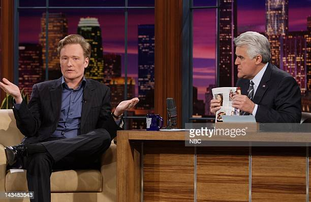 LENO Conan O'Brien Air Date 3/27/08 Episode 3523 Pictured Television host Conan O'Brien during an interview with host Jay Leno on March 27 2008