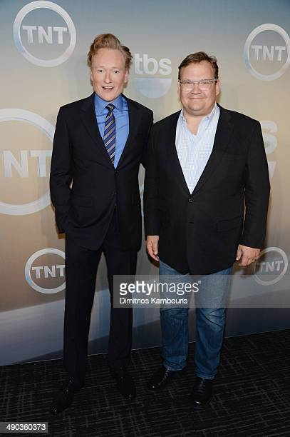 Conan O'Brien and Andy Richter attend the TBS / TNT Upfront 2014 at The Theater at Madison Square Garden on May 14 2014 in New York City...