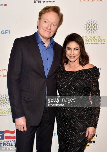 Conan O'Brien and Caroline Hirsch attend the 11th Annual Stand Up for Heroes Event presented by The New York Comedy Festival and The Bob Woodruff...