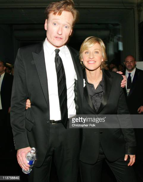 Conan O'Brien and Ellen DeGeneres during 57th Annual Primetime Emmy Awards Backstage Audience and Architectural Digest Green Room at The Shrine in...