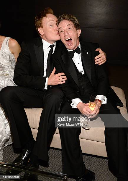 Conan O'Brien and Martin Short attend the 2016 Vanity Fair Oscar Party Hosted By Graydon Carter at the Wallis Annenberg Center for the Performing...
