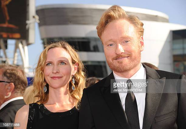 Conan O'Brien and wife Liza Powell arrive at the 62nd Annual Primetime Emmy Awards held at the Nokia Theatre LA Live on August 29 2010 in Los Angeles...