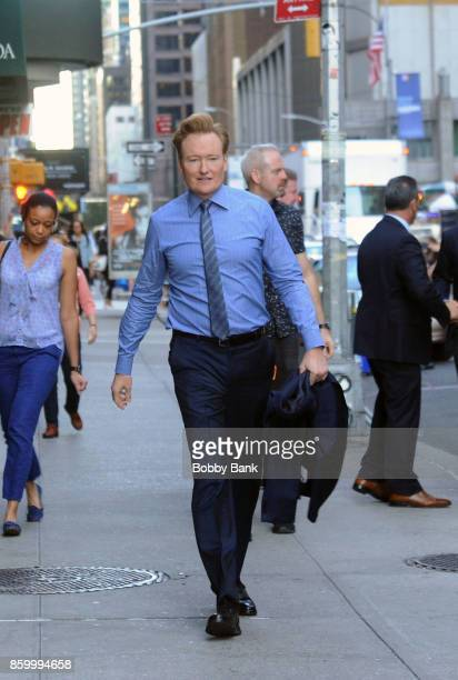 Conan O'Brien arrives at 'The Late Show with Stephen Colbert' on October 10 2017 in New York City