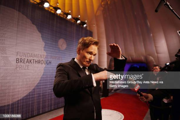 Conan O'Brien arrives on the red carpet and talks with the media at the Breakthrough Prizes an awards ceremony that's been likened to the Academy...