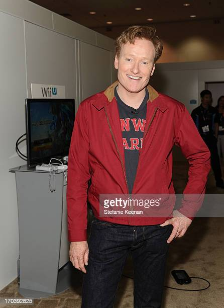 Conan O'Brien attends Nintendo's booth to sample games for Wii U and Nintendo 3DS at the 2013 E3 Gaming Convention at Los Angeles Convention Center...