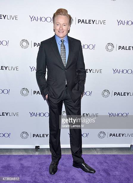 Conan O'Brien attends The Paley Center For Media Hosts A Conversation With Anderson Cooper And Conan O'Brien at Paley Center For Media on May 15 2015...