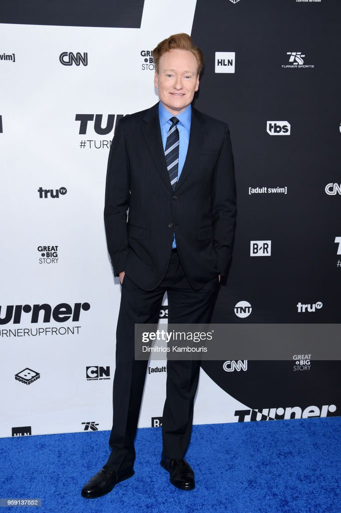 Conan O'Brien attends the Turner Upfront 2018 arrivals on the red carpet at The Theater at Madison Square Garden on May 16, 2018 in New York City. 376263