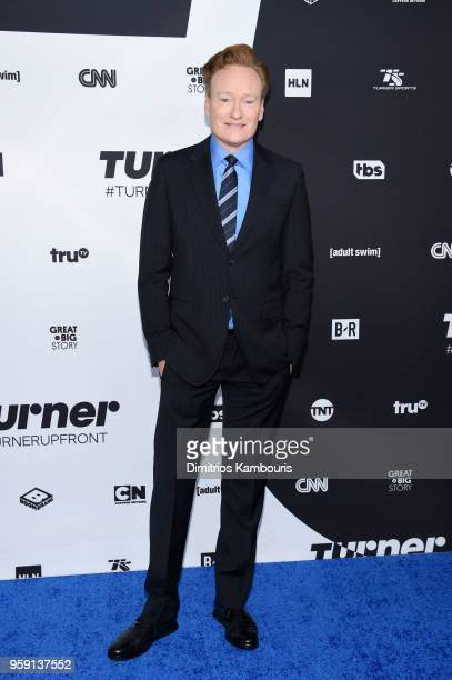 Conan O'Brien attends the Turner Upfront 2018 arrivals on the red carpet at The Theater at Madison Square Garden on May 16 2018 in New York City...