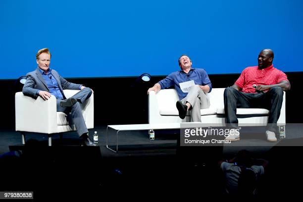 Conan O'Brien Chris Cuomo and Shaquille O'Neal speak onstage during the Turner session at the Cannes Lions Festival 2018 on June 20 2018 in Cannes...