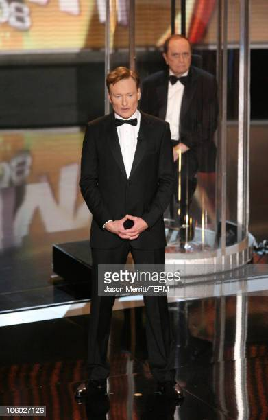 Conan O'Brien host and Bob Newhart during 58th Annual Primetime Emmy Awards Show Balcony at The Shrine Auditorium in Los Angeles California United...