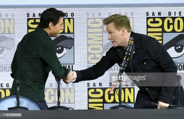 Conan O'Brien introduces Tom Cruise for a surprise appearance to discuss Top Gun Maverick during 2019 ComicCon International at San Diego Convention...