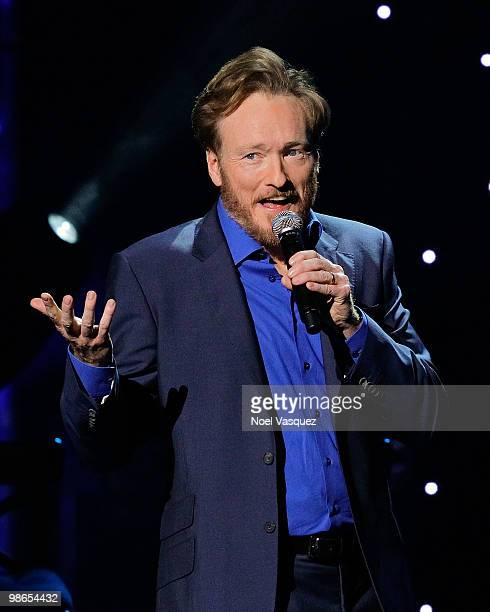Conan O'Brien performs at his 'Legally Prohibited From Being Funny On Television Tour' at the Gibson Amphitheatre on April 24 2010 in Universal City...