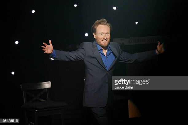 Conan O'Brien performs during 'The Legally Prohibited From Being Funny On Television' tour at The Hult Center on April 12 2010 in Eugene Oregon