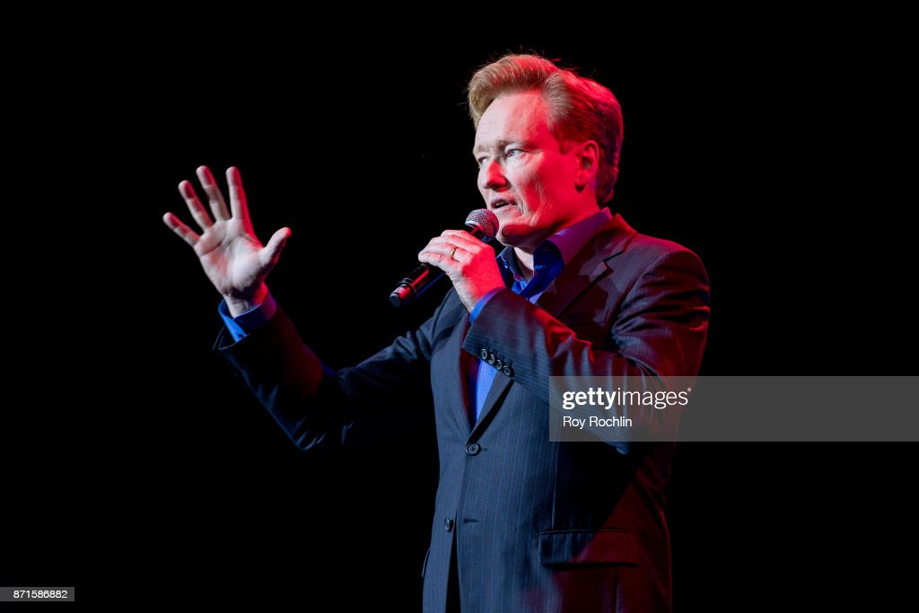 Conan O'Brien performs on stage during the 11th Annual Stand Up for Heroes at The Theater at Madison Square Garden on November 7, 2017 in New York City.