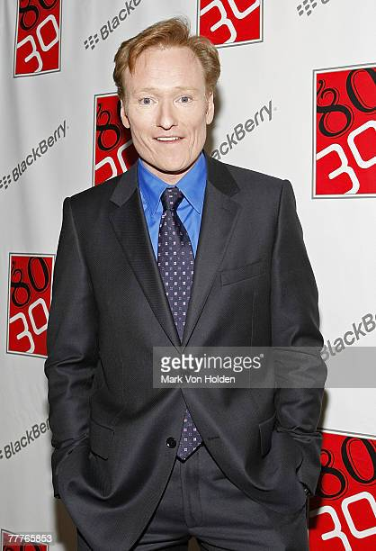 Conan O'Brien poses at John Mayer's 30th Birthday Party at The Rainbow Room with Blackberry New York October 16 2007