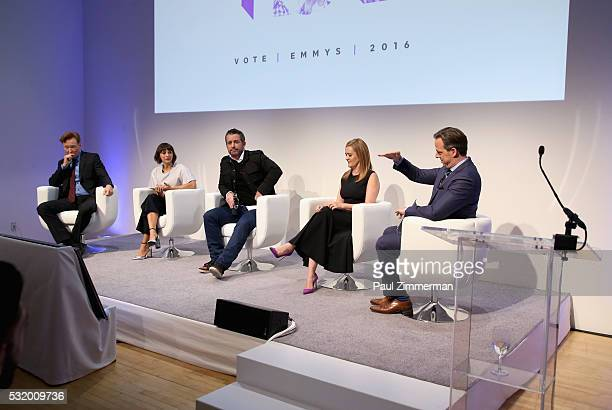 Conan O'Brien Rashida Jones Jason Jones Samantha Bee and Jake Tapper speak onstage during TBS Night Out at The New Museum on May 17 2016 in New York...