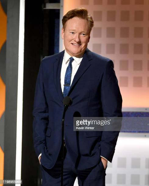 Conan O'Brien speaks onstage during AARP The Magazine's 19th Annual Movies For Grownups Awards at Beverly Wilshire, A Four Seasons Hotel on January...
