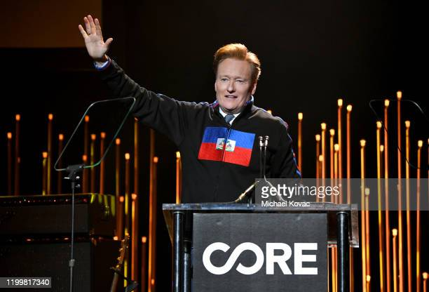 Conan O'Brien speaks onstage during CORE Gala: A Gala Dinner to Benefit CORE and 10 Years of Life-Saving Work Across Haiti & Around the World at...