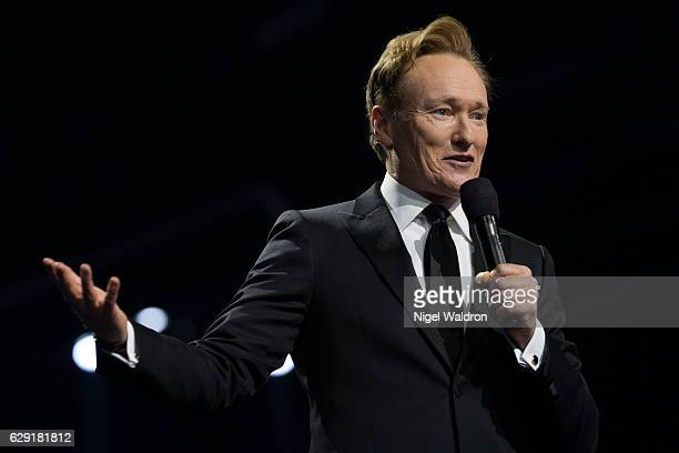 Conan O'Brien speaks to the audience and celebrate this yearâs Nobel Peace Prize laureate President Juan Manuel Santos of Colombia during the Nobel...