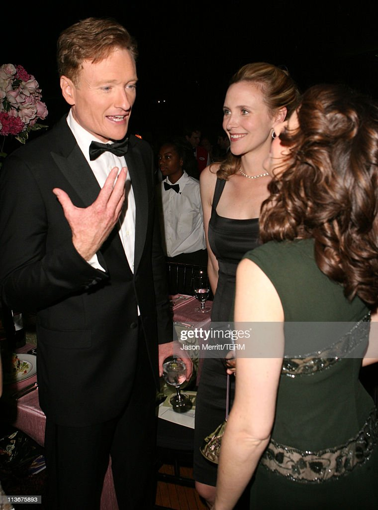 Conan O'Brien, wife Liza Powell and Tina Fey during 58th Annual Primetime Emmy Awards - Governors Ball at The Shrine Auditorium in Los Angeles, California, United States.
