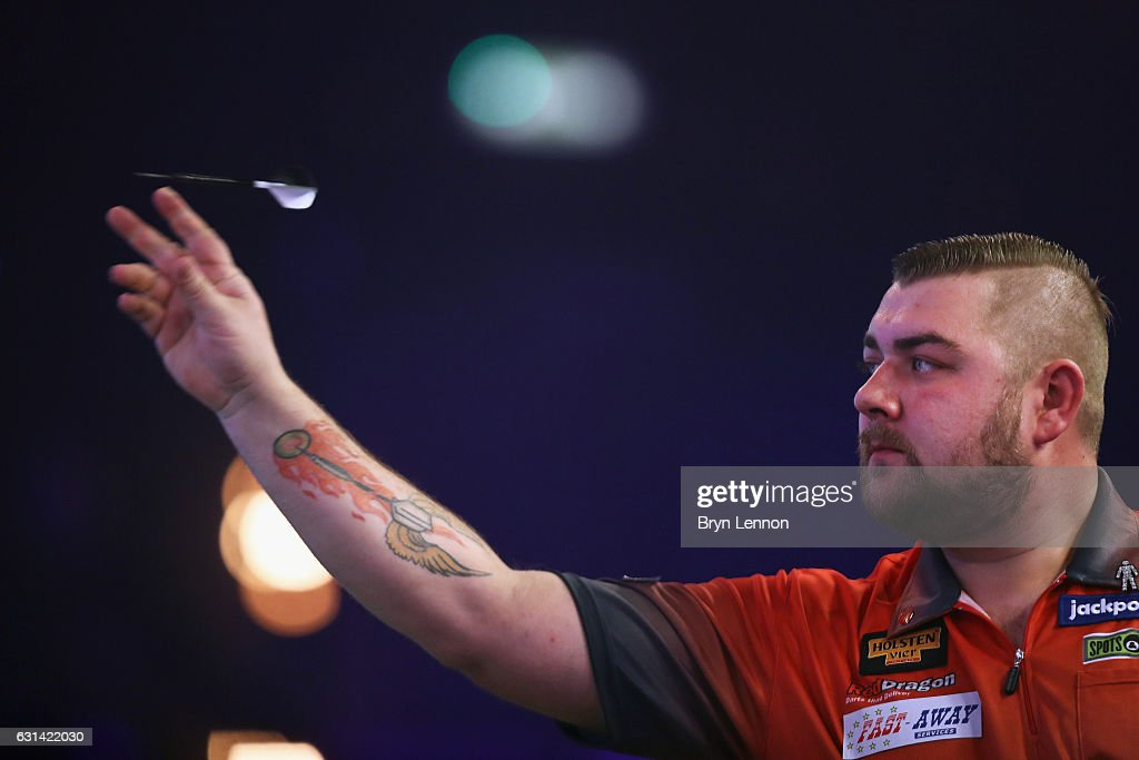 Conan Whitehead of Great Britain in action in his first round match on day four of the BDO Lakeside World Professional Darts Championships on January 10, 2017 in Frimley, England.