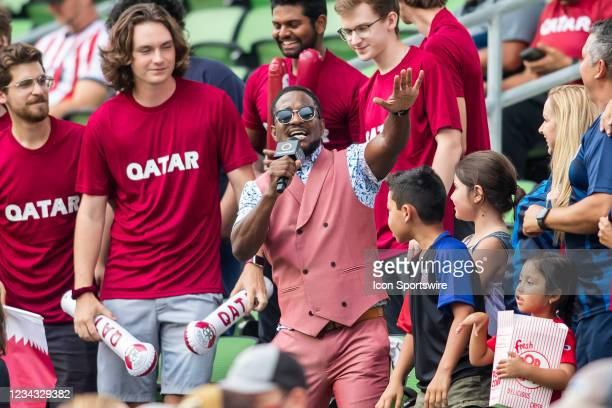 Concacaf media personality interacts with fans prior to the Gold Cup semifinal match between the United States and Qatar on Thursday July 29th, 2021...