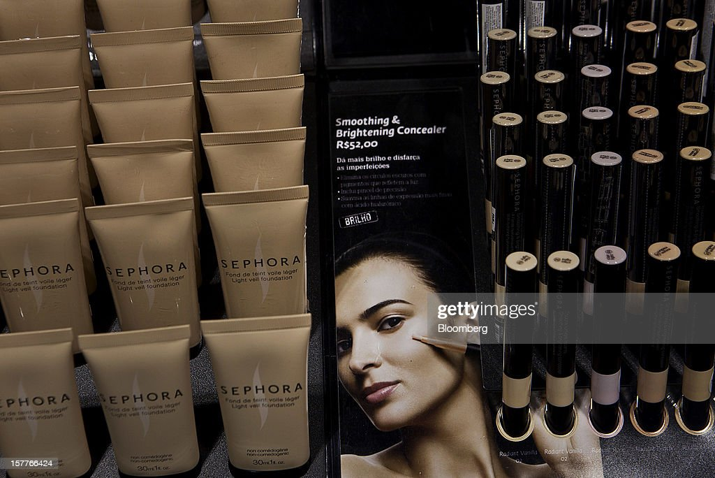 Concealer is displayed for sale during the opening of a Sephora SA store at the Riosul shopping mall in Rio de Janeiro, Brazil, on Wednesday, Dec. 5, 2012. Sephora SA, a French beauty product retail chain, opened its first Brazil location earlier this year in July. Photographer: Dado Galdieri/Bloomberg via Getty Images