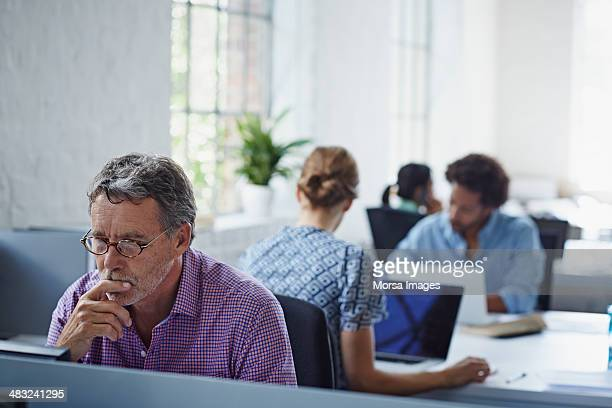 Concentrated businessman working