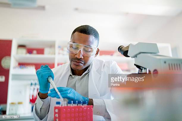 Concentrated chemist mixing chemicals in test tube