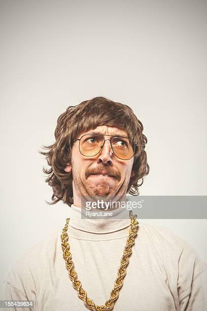 Concentrating Retro Seventies Man
