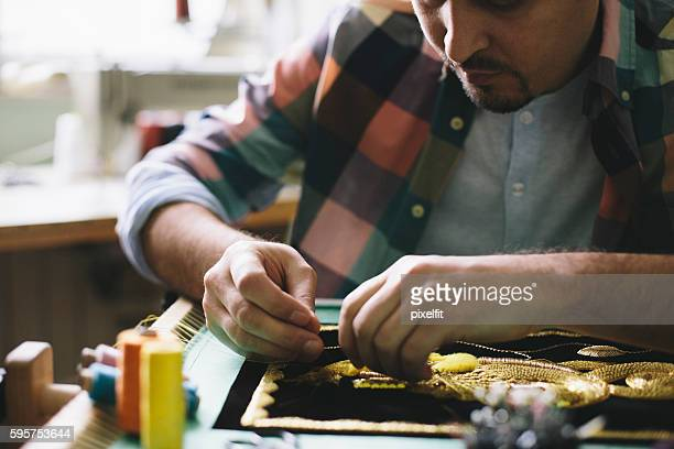concentration and persistance - embroidery stock pictures, royalty-free photos & images