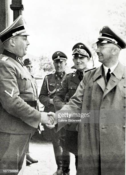 Concentration Camp Auschwitz SS chief Heinrich Himmler a fivestar general during a visit to the Auschwitz camp in Poland where he inspects the...