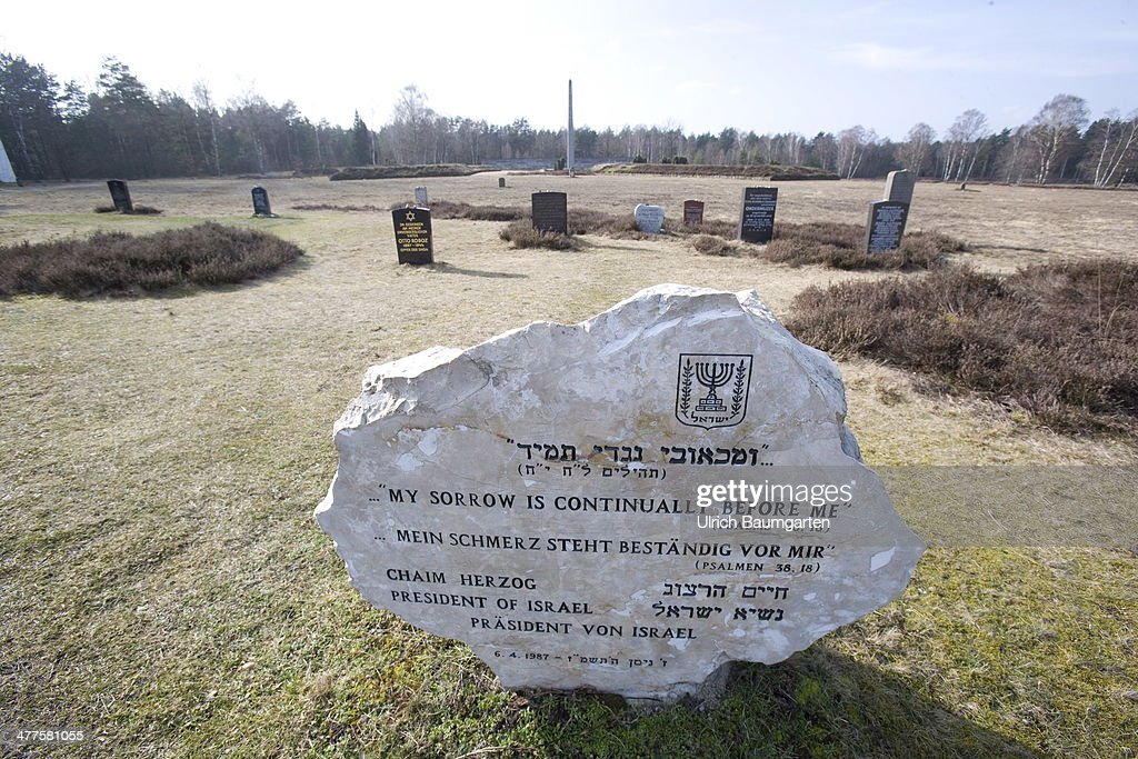 Concentration Camp Bergen-Belsen, memorial stones with Jewish inscription and the inscriptions of other by Nazi-Terror affected Nations, on March 05, 2014 in Bergen-Belsen, Germany.