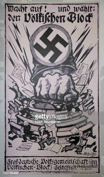 GERMANY DACHAU Concentration camp memorial place Dachau Ops Election poster of Voelkischer Block to the election of the German Reichstag 1924 at the...