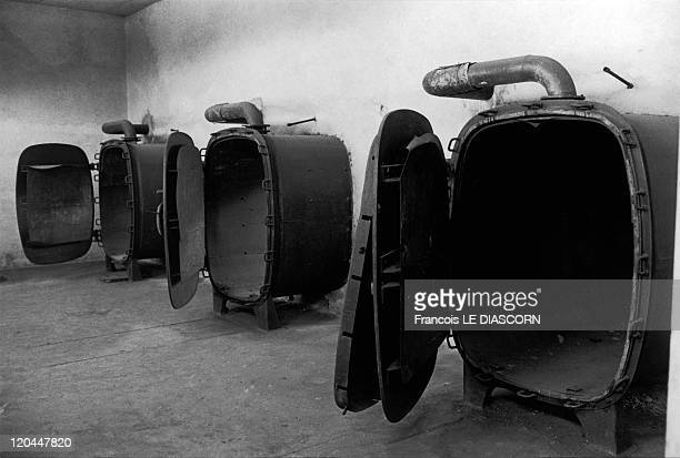 Concentration camps in Birkenau, Poland in 1990 - A room with ovens for burning the victims of the camps. These particular ovens were never used as...