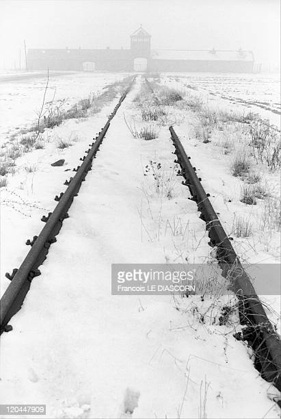 Concentration camps in Birkenau Poland in 1990 The same train track leading to the entrance of Birkenau concentration camp in the winter