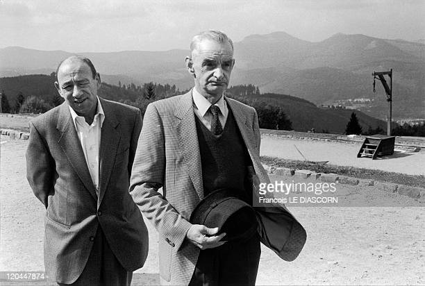 Concentration camps in Le Struthof France in 1990 Here a group of mentally handicapped people have been brought on a visit to the French...
